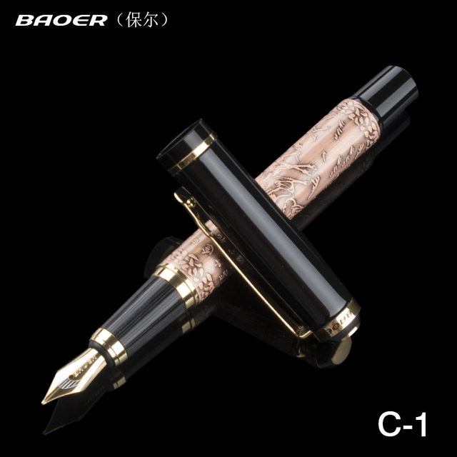 Chinese Style Black Classic Brass Gold Eight Horses High Grade Fountain Pen Writing Instrument Written Smoothly Gifts 13.3cm