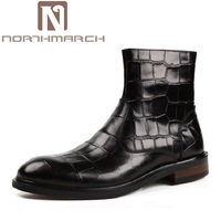 NORTHMARCH 2018 New Crocodile Mens Ankle Boots Embossed Genuine Leather Dress Boots Autumn Mens Wedding Shoes botas masculinas