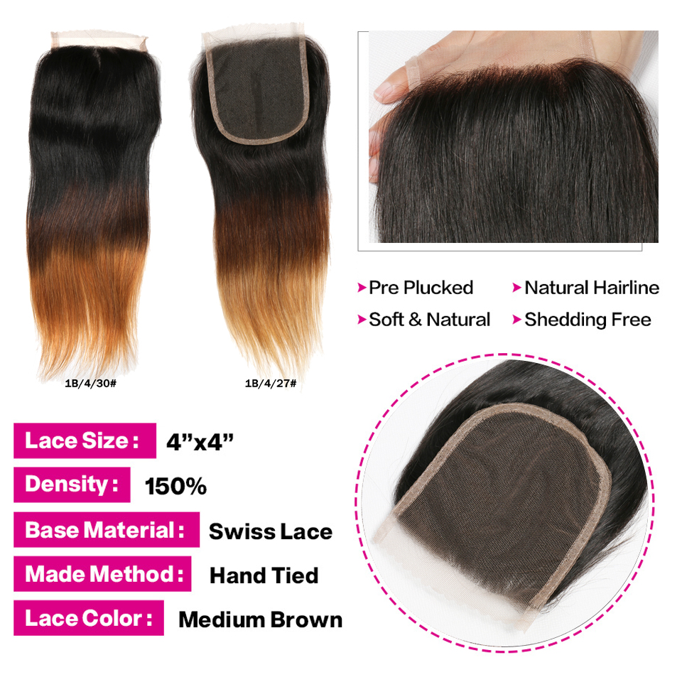 Image 5 - SAY ME 3 Tone Ombre Straight Human Hair Bundles With Closure 1B/4/27 30 Peruvian Hair Bundles With 4*4 Lace Closure Remy Weave-in 3/4 Bundles with Closure from Hair Extensions & Wigs