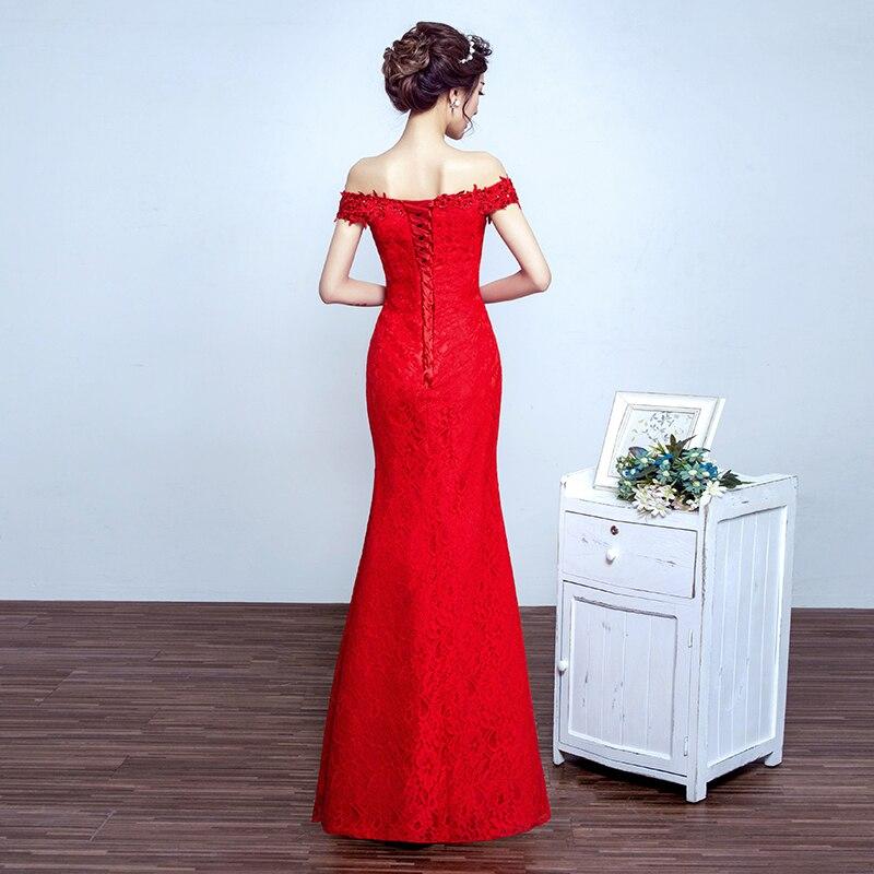 Robe de soiree 2019 rød bukett kjole av skulder fishtail Lace Up - Spesielle anledninger kjoler - Bilde 5