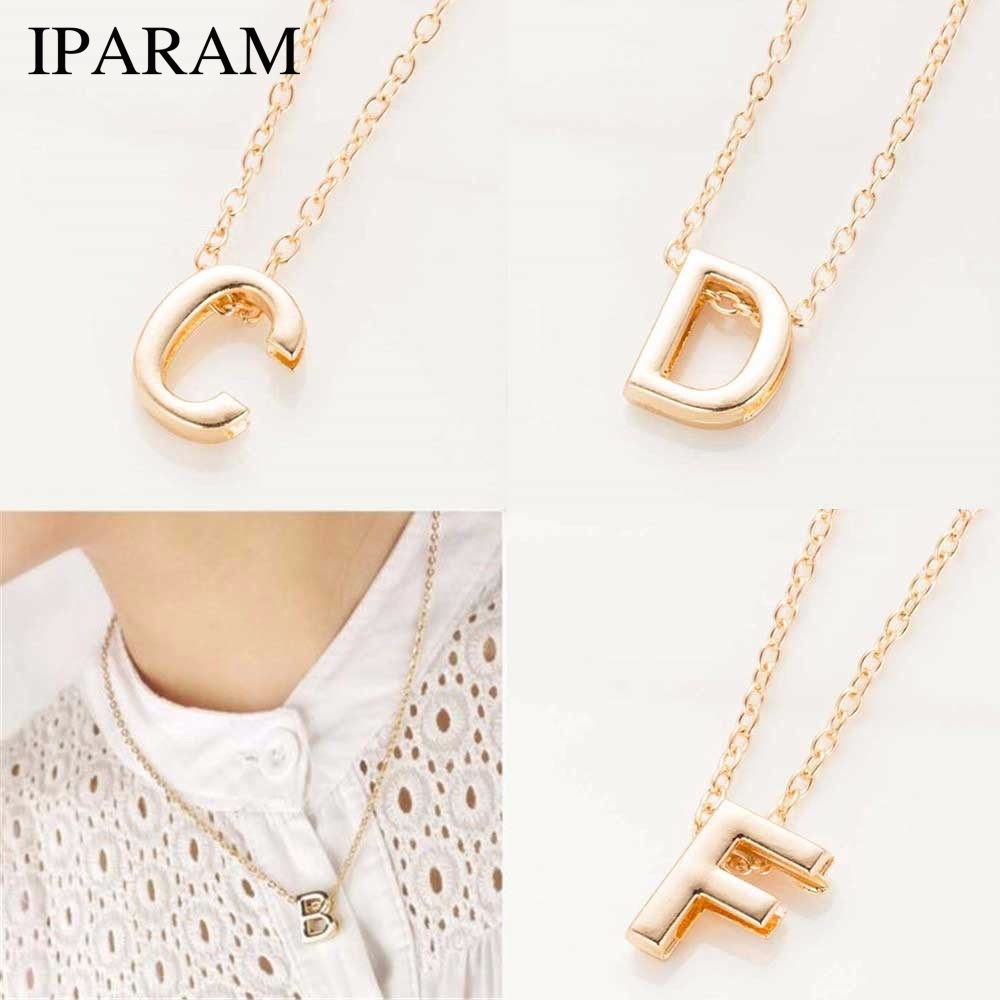 IPARAM 2019 New Hot Sale Fashion Women's Metal Alloy DIY Letter Name Initial Link Chain Charm Pendant Necklace N125