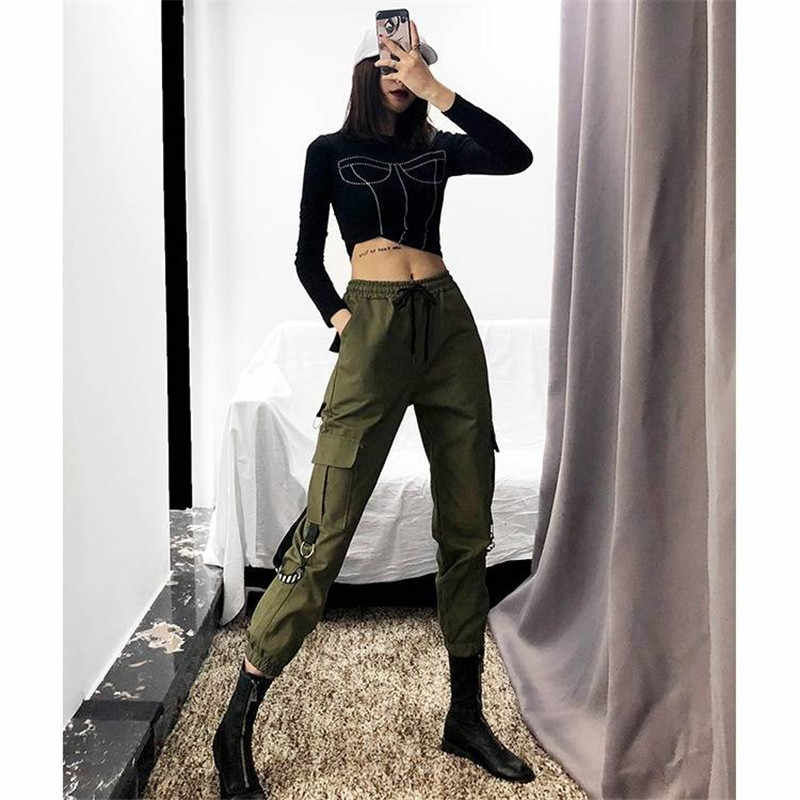 שחור מטען מכנסיים נשים רצים מקרית גבוהה מותן Loose נקבה היפ הופ מכנסיים קוריאני פאנק מכנסיים מצחיק קאפרי Streetwear נשים