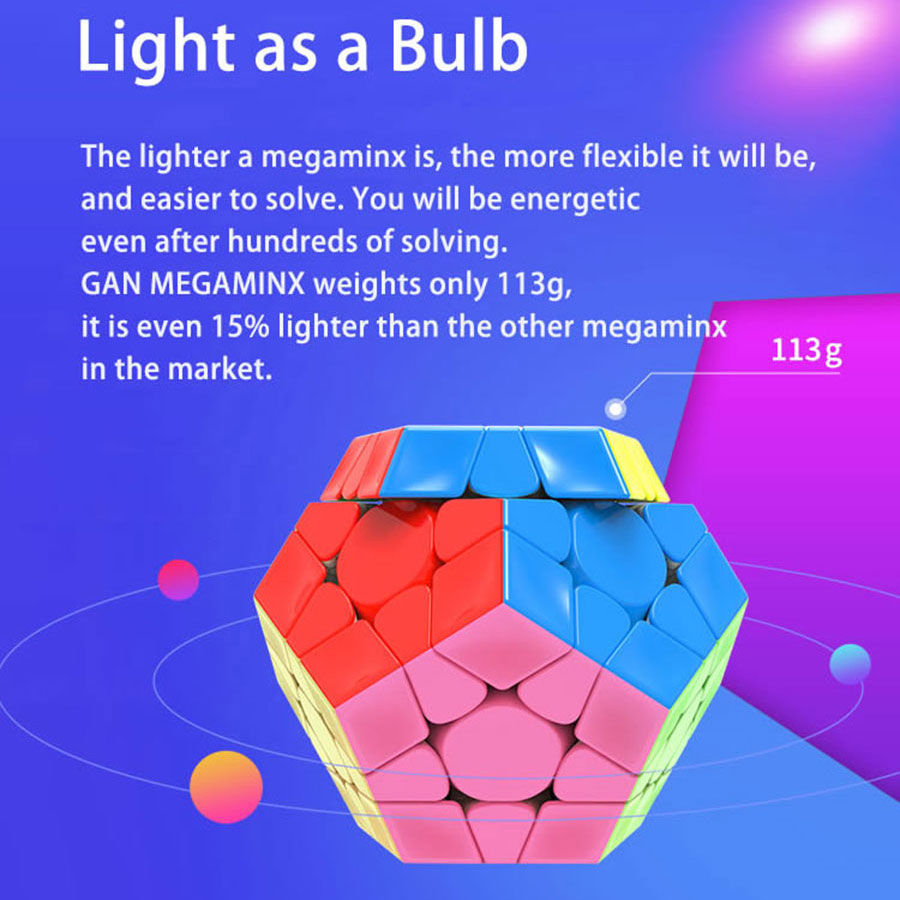 Cube magique puzzle GAN mega M megaminxeds magnétique gancube 12 faces cube dodecahedron professionnel megamin x vitesse cube jouets - 5