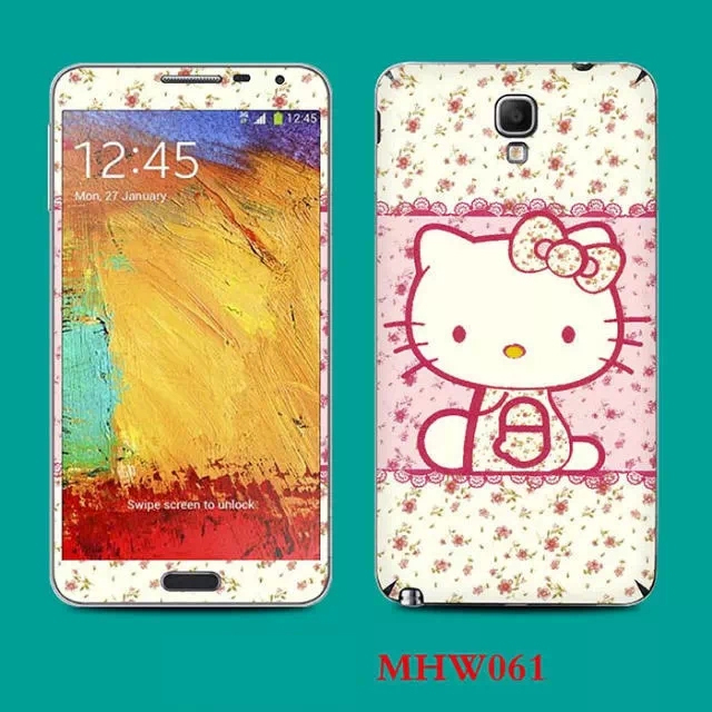 Hello kitty rose print sticker for samsung galaxy note 3 lite screen protector note3 mini 5 5
