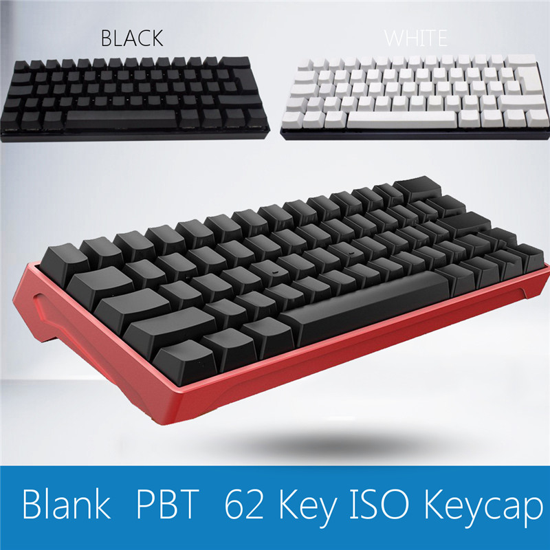 White Black OEM Profile ISO Keycap Thick PBT 62 Keys Mechanical Keyboard Keycaps Blank Key Caps For Gaming Keyboad