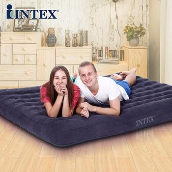 Intex Goede Kwaliteit 2-3 Persoon 137*191*22 Cm Sterke Comfortalbe Opblaasbare Mat Vouwen Bed Met elektrische Pomp