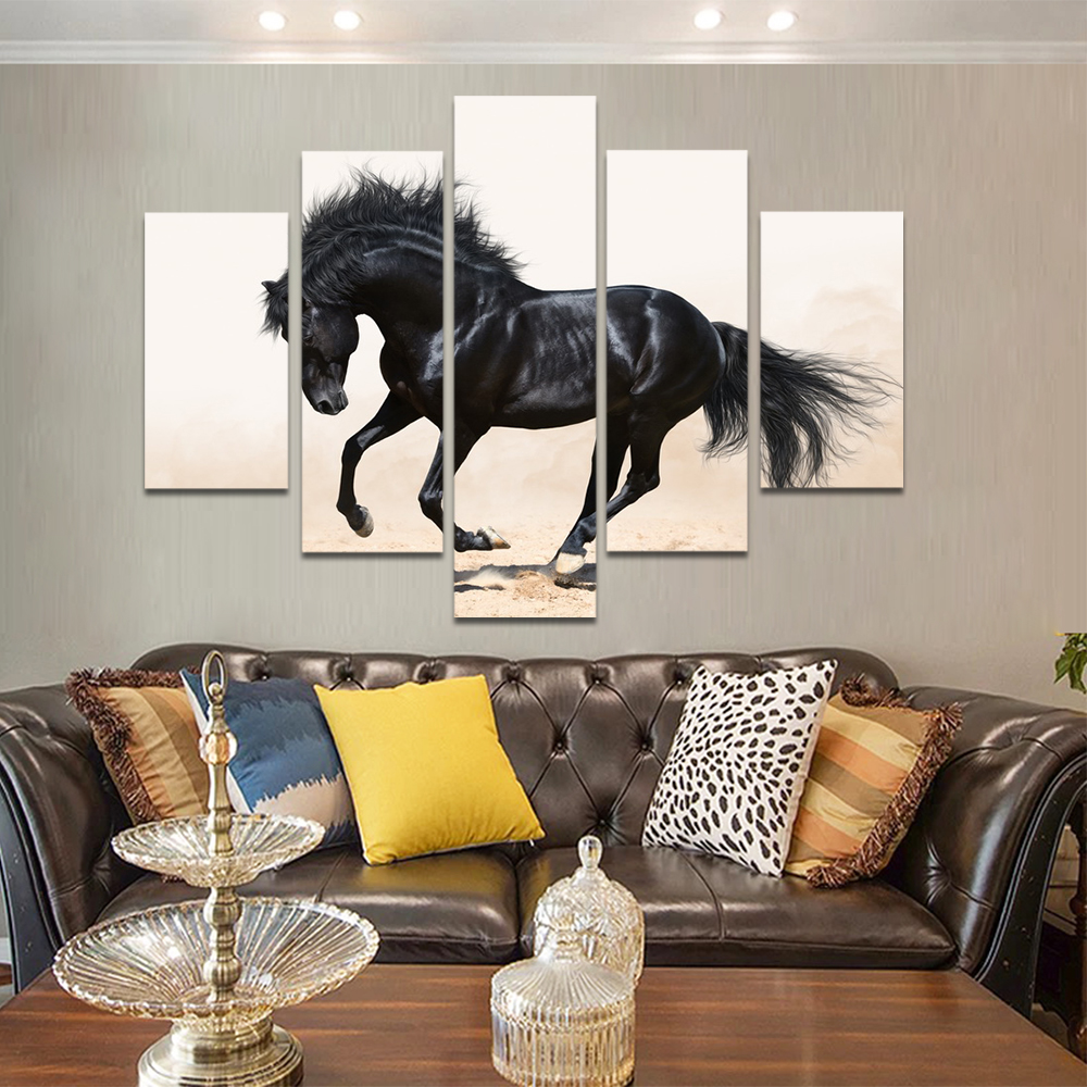 Unframed HD Print 5 Canvas Art Painting Black Horse Living Room Decoration Painting Mural Unframed Custom Made