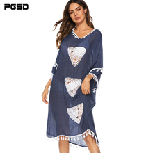 PGSD Fashion women clothes Crochet fringed Splicing irregular medium-length Micro penetration Loose beach blouse dress female