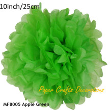 10inch=25cm 10pcs/lot Apple Green Wedding Tissue Paper Pom Poms Flowers Balls Decor Birthday Holiday Party Supplies