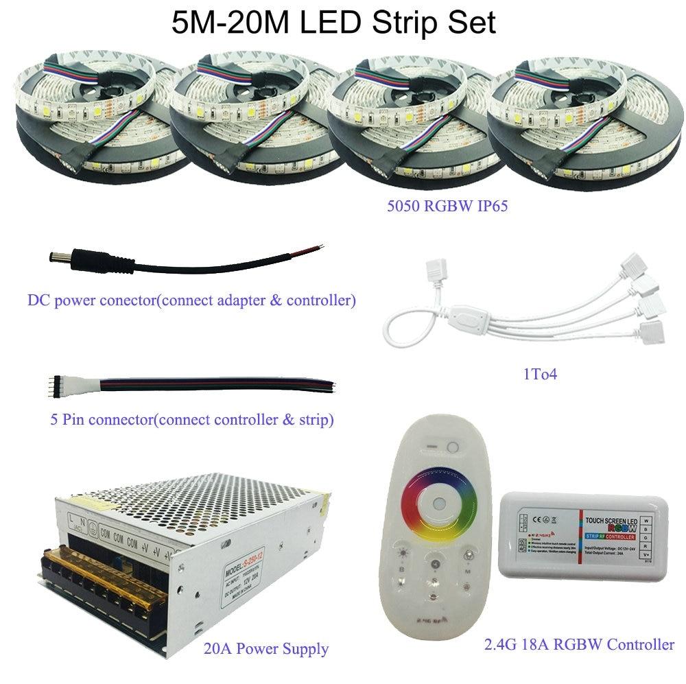 5M/10M/15M/20M 5050 RGB/RGBW/RGBWW LED Strip Set With 2.4G Touch Screen RF Remote Controller+12V Power Supply Adapter akg pae5 m