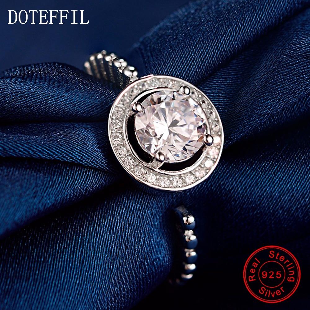 AAA Zircon 100% mincovní stříbro pro ženy, svatební párty, prsteny s láskou, módní kouzlo 925 stříbrných prstenů