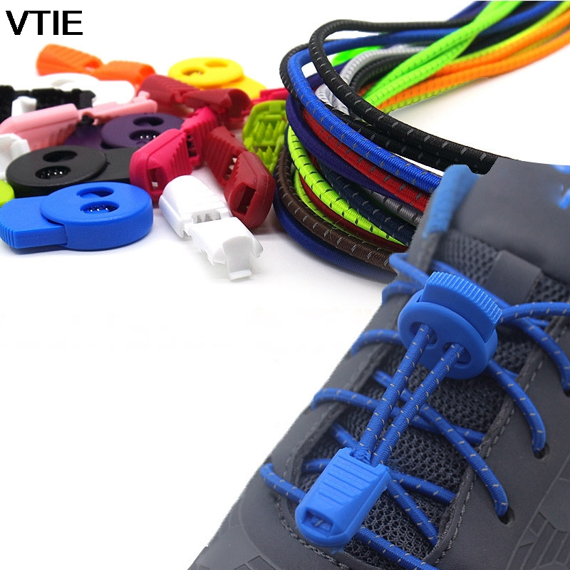 VTIE 2018 New Reflective Lazy ShoeLaces Running Sports Laces Elastic Shoelace Stretch Belt Round Buckle Shoe Laces Elastic Laces