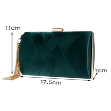 New Arrival Green Evening Clutch Metal Tassel Clutch Bag With Chain Evening Clutch Bags