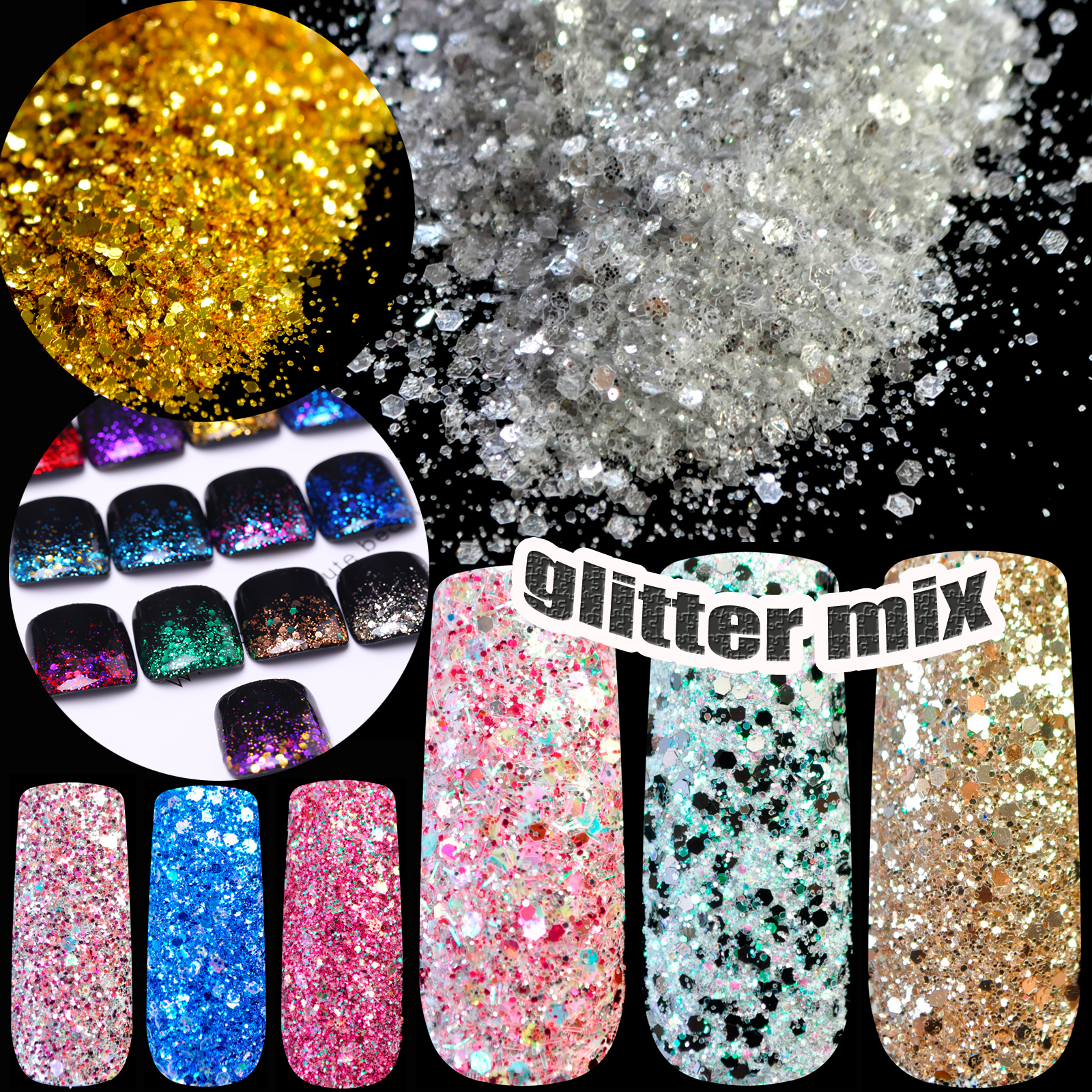 3D Mix Nail Art Glitter Sequin Sheet Dust Acrylic UV Glitter Powder ...