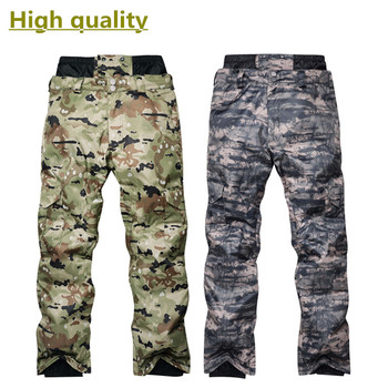 High quality men's winter snowboard pants outdoor windproof waterproof warm camouflage thick high waist ski pants