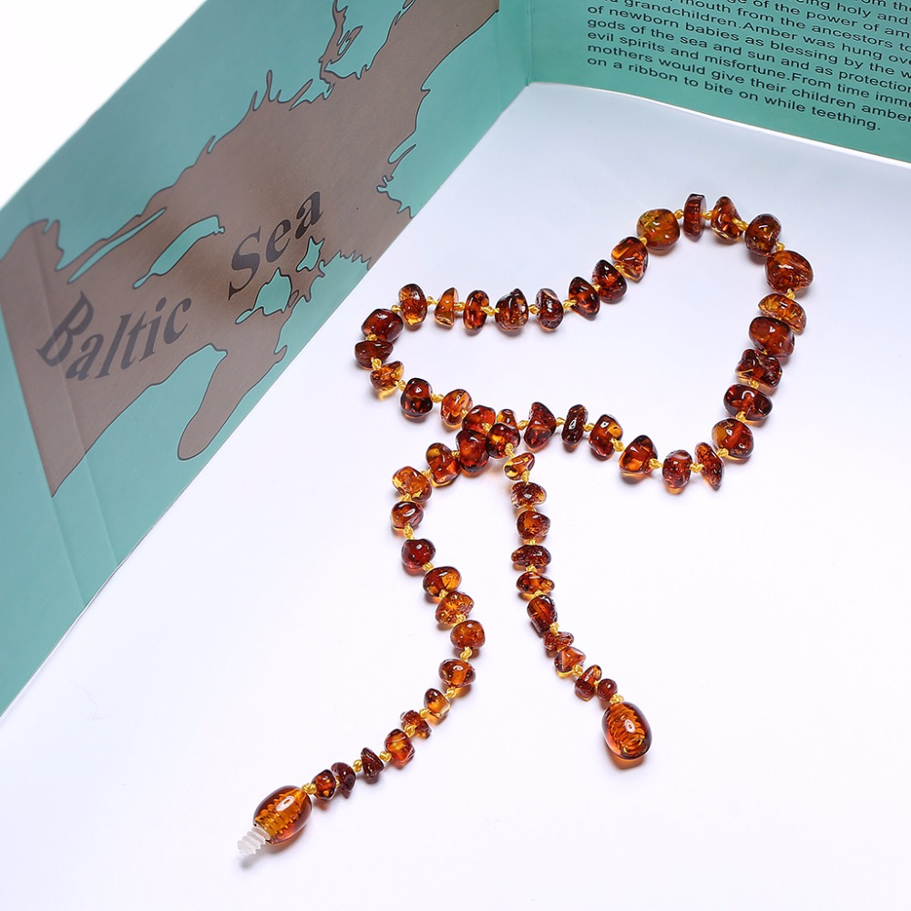 Kalung Gigi Baltik Amber Amber untuk Bayi (Cognac) - Buatan Tangan di - Perhiasan bagus - Foto 4