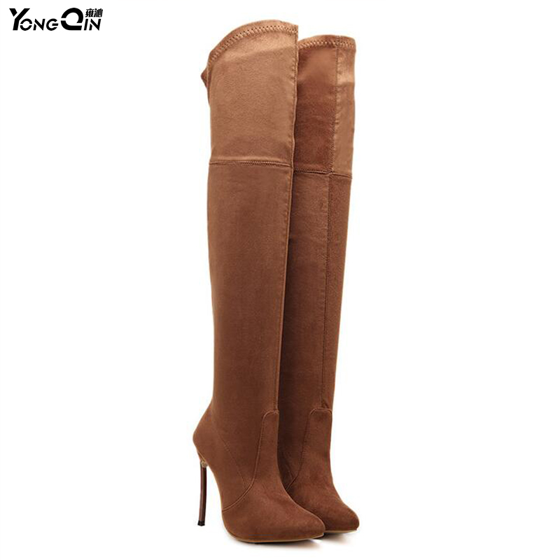 Suede Slim Boots Sexy Over the knee High Women  Boots Women's Fashion Winter Thigh High Boots Shoes Woman  SIZE 35-42 ppnu woman winter nubuck genuine leather over the knee snow boots women fashion womens suede thigh high boots ladies shoes flats