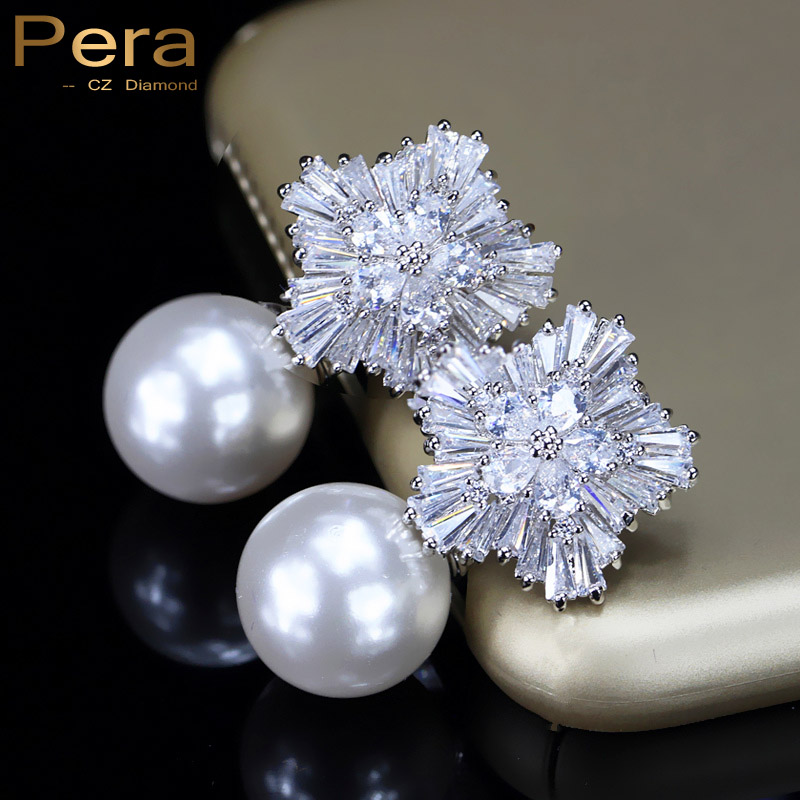 Pera Noble Design CZ Brand Jewelry Big Freshwater Simulated Pearl Long Drop Bridal Wedding Party Earrings For Brides E027
