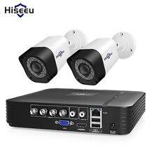 Hiseeu 4CH Kit de videovigilancia CCTV Cámara sistema de seguridad al aire libre 2 uds 2MP 1MP impermeable AHD sistema App ver soporte HDD