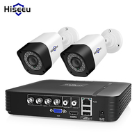 Hiseeu 4CH Video Surveillance Kit CCTV Camera Security system Outdoor 2PCS 2MP 1MP Waterproof AHD System App View Support HDD