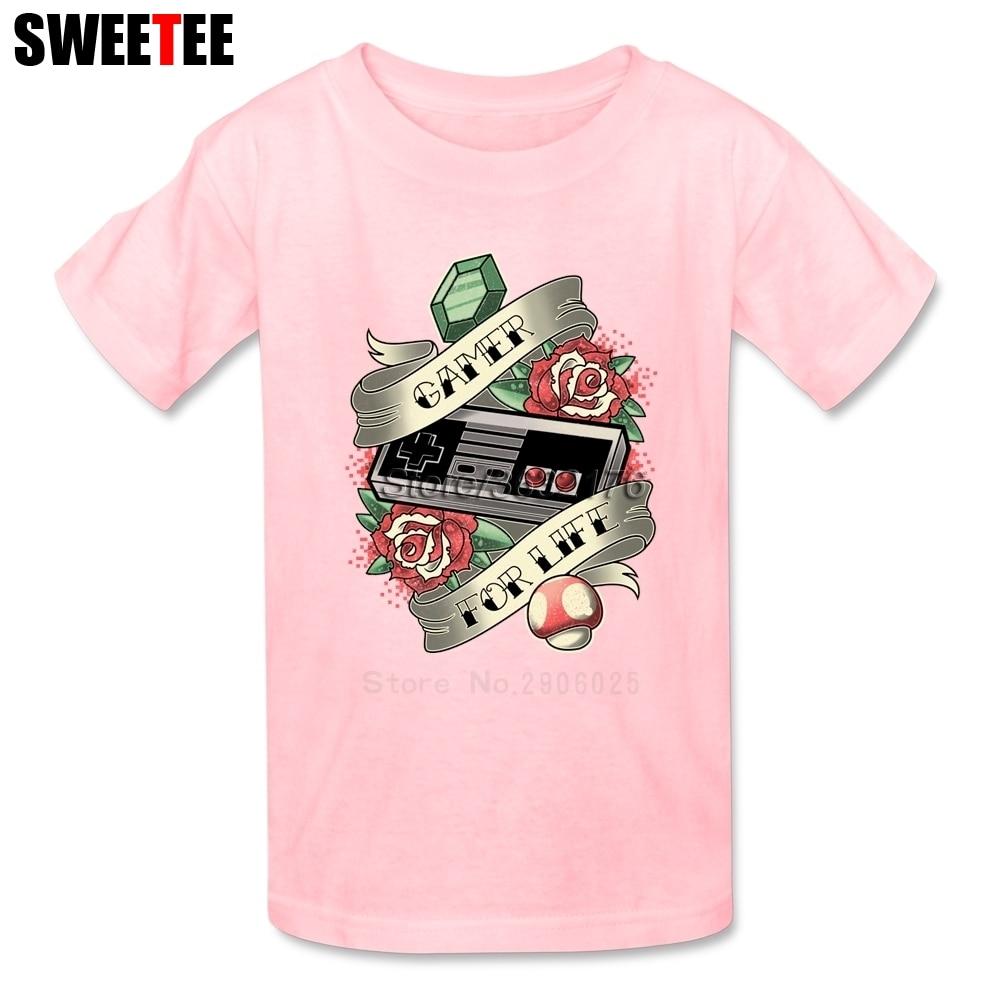 Gamer For Life T Shirt Kids 100% Cotton Short Sleeve Crew Neck Tshirt Children Clothing 2018 Personality T-shirt For Boys Girls