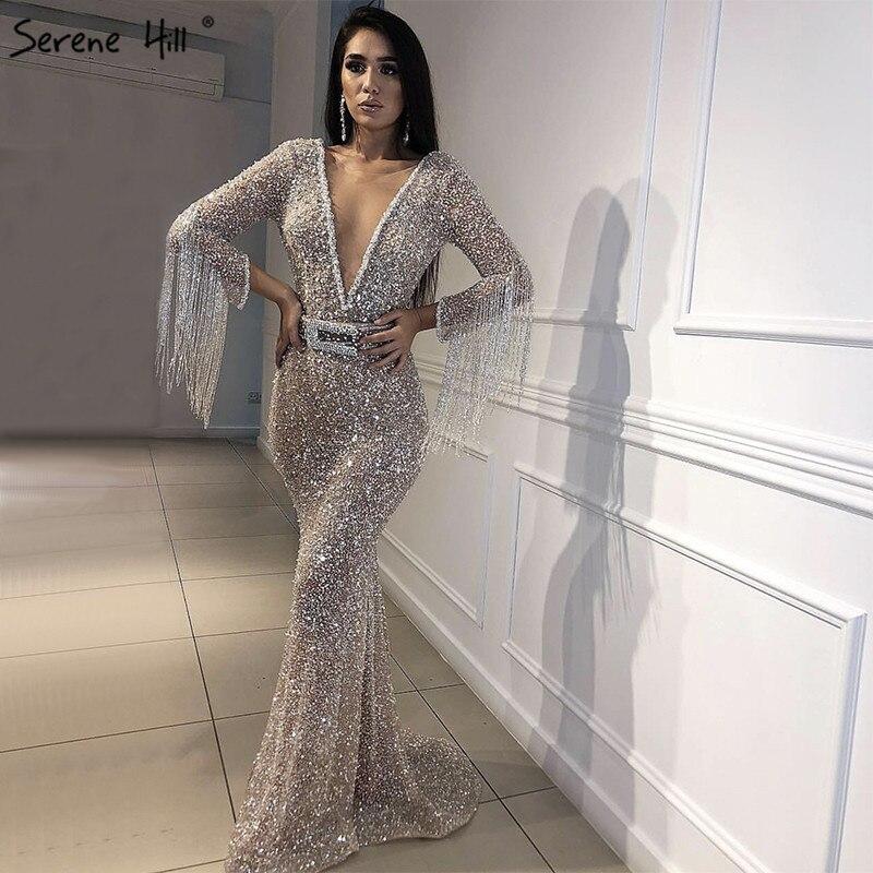 f56c24787c0 Dubai Luxury Long Sleeves Tassel Evening Dresses 2019 V-Neck Beading  Sequined Sexy Evening Gowns
