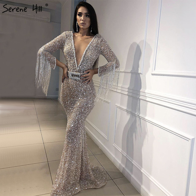 3a5f64d3e02c Dubai Luxury Long Sleeves Tassel Evening Dresses 2019 V-Neck Beading  Sequined Sexy Evening Gowns Serene Hill LA60770