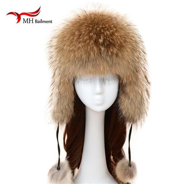 For Russian Winter Female Natural Raccoon Fur Warm Caps  2016 Women Genuine Fox Fur Hats for Women Winter Cap   MZ033