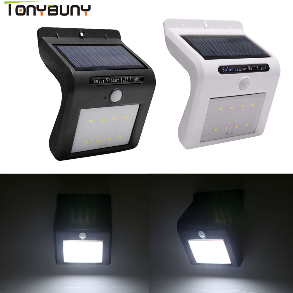 Modern Design LED Solar Power PIR Motion Sensor Wall Light LED Outdoor Energy Saving Street Yard Path Home Garden Security Lamp