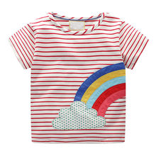 Striped Rainbow Printed Toddler Infant Baby Kids Girls Print Stripe T-Shirt Blouse Clothes vetement enfant fille baju anak *20(China)