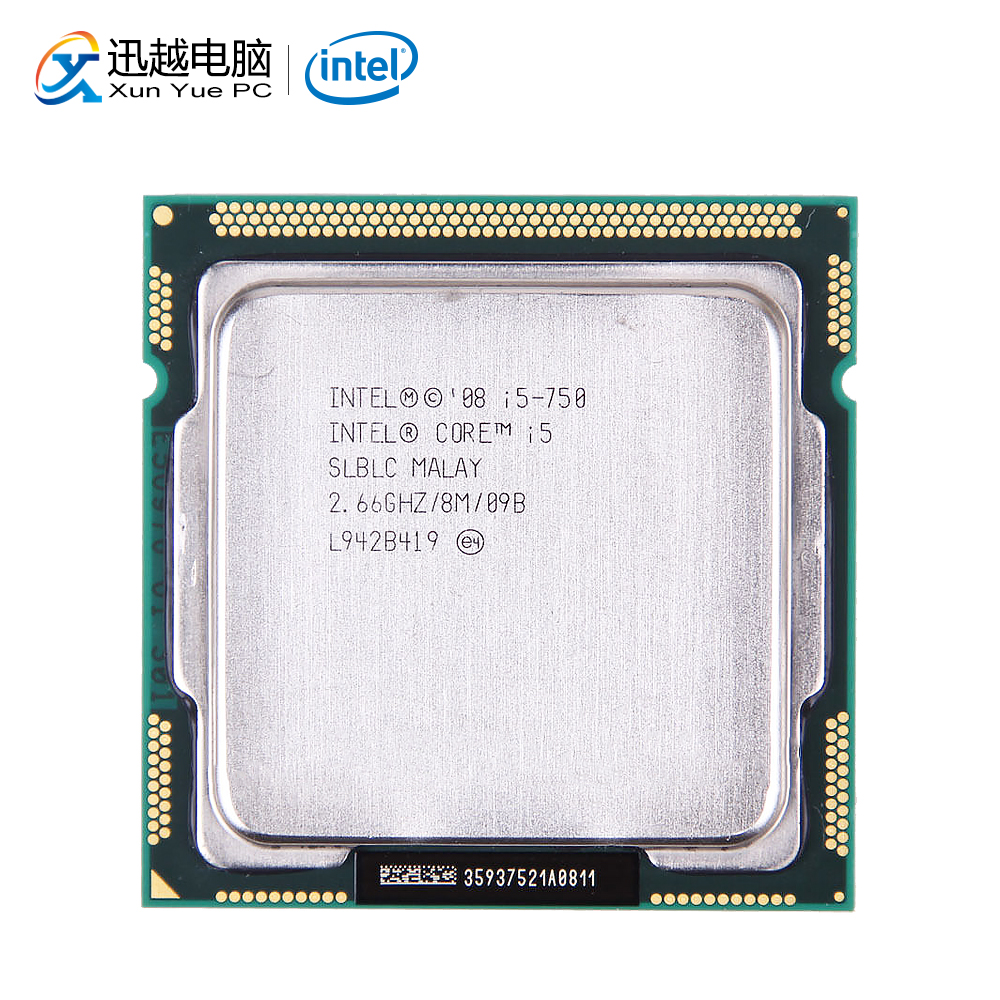 Processeur d'ordinateur de bureau Intel Core i5 750 i5-750 Quad-Core 2.66 GHz 8 mo L3 Cache LGA 1156 CPU utilisé