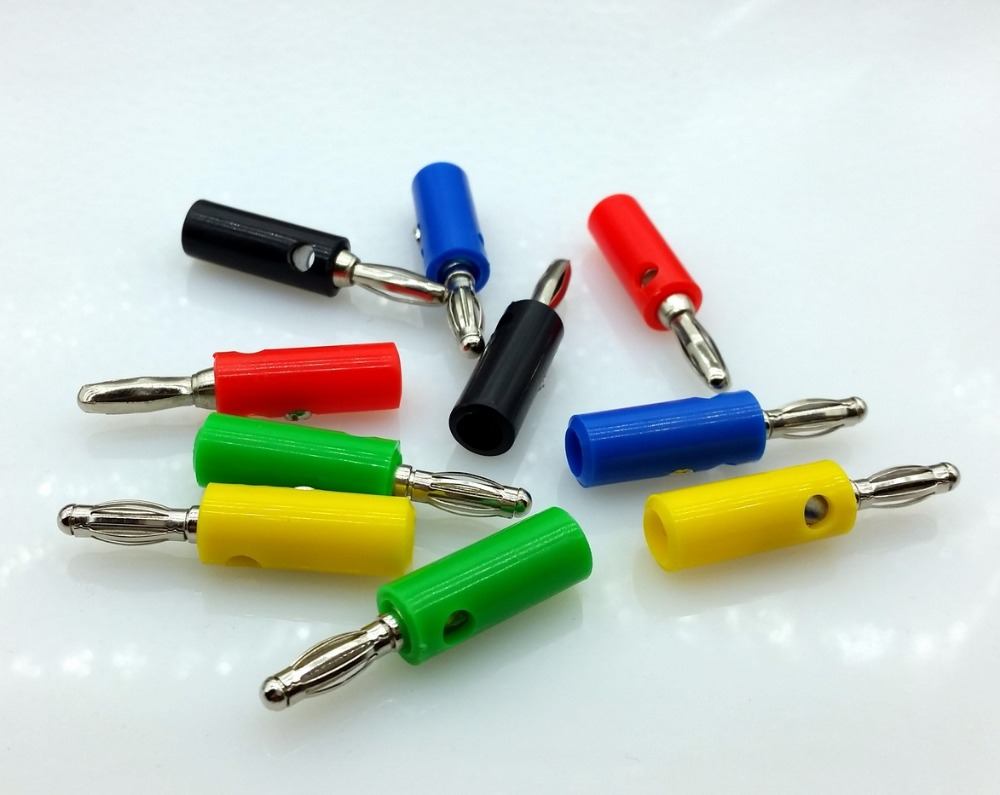 10pcs 5 color Wire Audio Speaker Cable Banana Plug Connectors 4mm Adapter