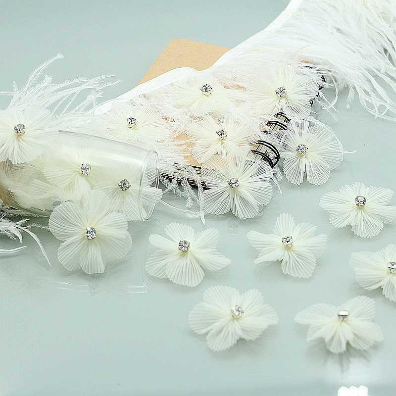 10 unids/lote parche de encaje aplique flor perla estéreo mariposa vestido de novia DIY Ajuste de encaje novia velo de pelo ropa