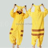 Pokemon Pikachu Costume for Adult Cartoon Anime Cosplay Kigurumi Onesies Pajamas Jumpsuit Hoodies for Halloween and Carnival