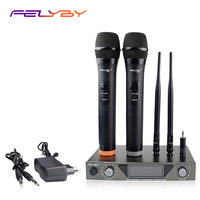 FELYBY professional high quality karaoke microphone Dynamic mic VHF Handheld double wireless microphone for computer TV