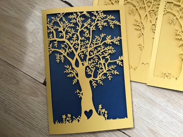 25pcs love tree in stock gold laser cut wedding invitationsdiy bridal shower invitation cards
