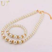 U7 Brand Beads Bracelet And Necklace Set Trendy White Simulated Pearl & Rhinestone Women Wedding/Party Jewelry Sets Gift S582(China)