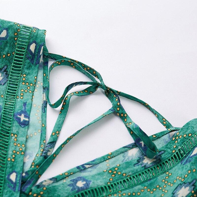 ARTKA 2019 printemps été vedette femmes robe élégante bohême mode robe perroquet vert col en V Design Vintage robes LA10891X - 6