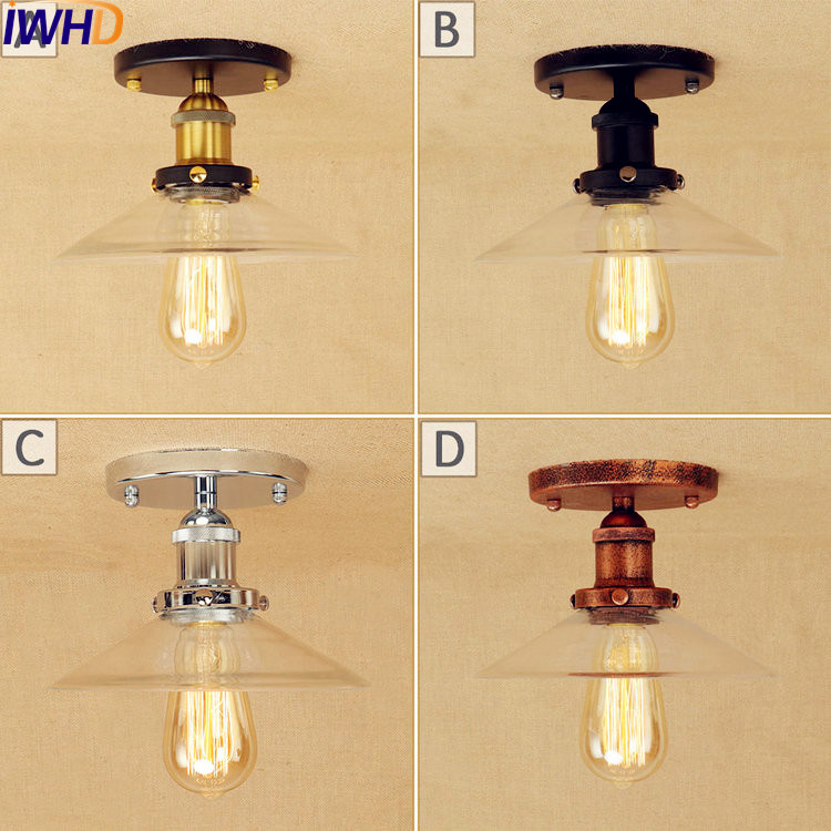 IWHD Retro Edison Vintage LED ceiling Lamps For Living Room Lights Loft Industrial Ceiling Light Fixtures Lampara Techo