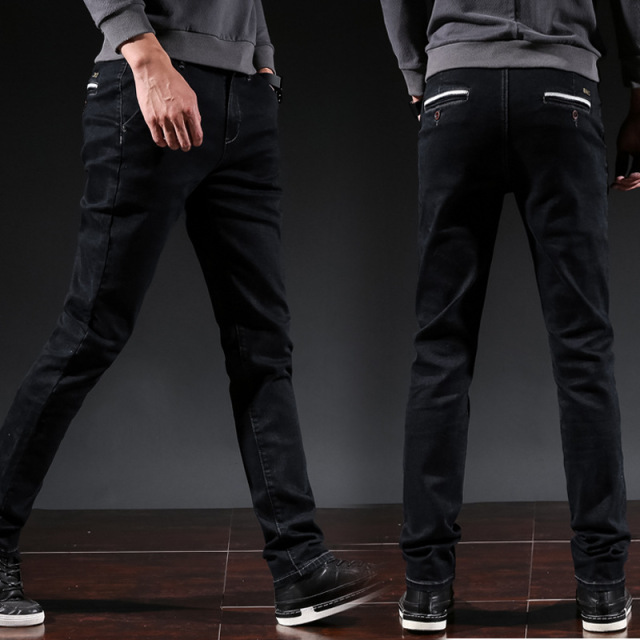Icpans Men Jeans Business Casual Thicken Winter Straight Slim Fit Black Jeans Stretch Denim Pants Classic Cowboys Young Man