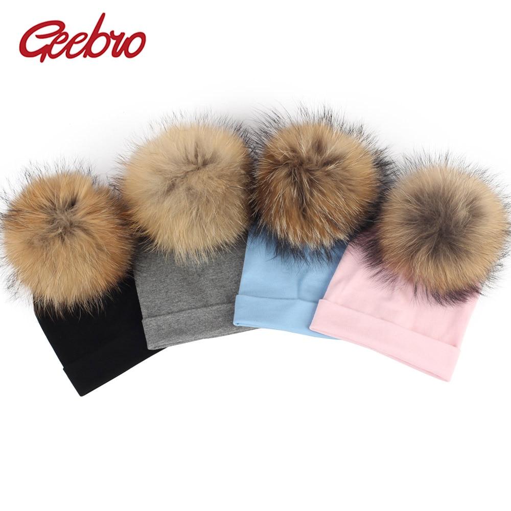 Gebro 6 Months -3 Years Old Baby Girls and Boys Beanie Hat Autumn Cotton Raccoon Pompom Skullies Beanies Newborn Kids Plain Hats