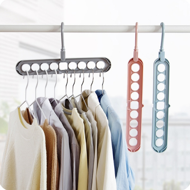 Ordinaire IVYSHION Multi Functional Dual Hanger Folding Clothes Hanger Clothing  Drying Rack Closet Organizer Home Tool