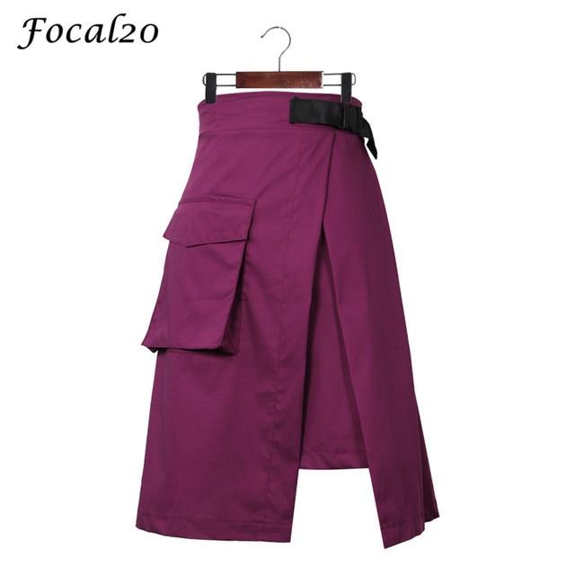 Focal20 уличная Разделение нерегулярные Для женщин юбка Высокая талия фиолетовый Асимметричная юбка с карманом женский низ