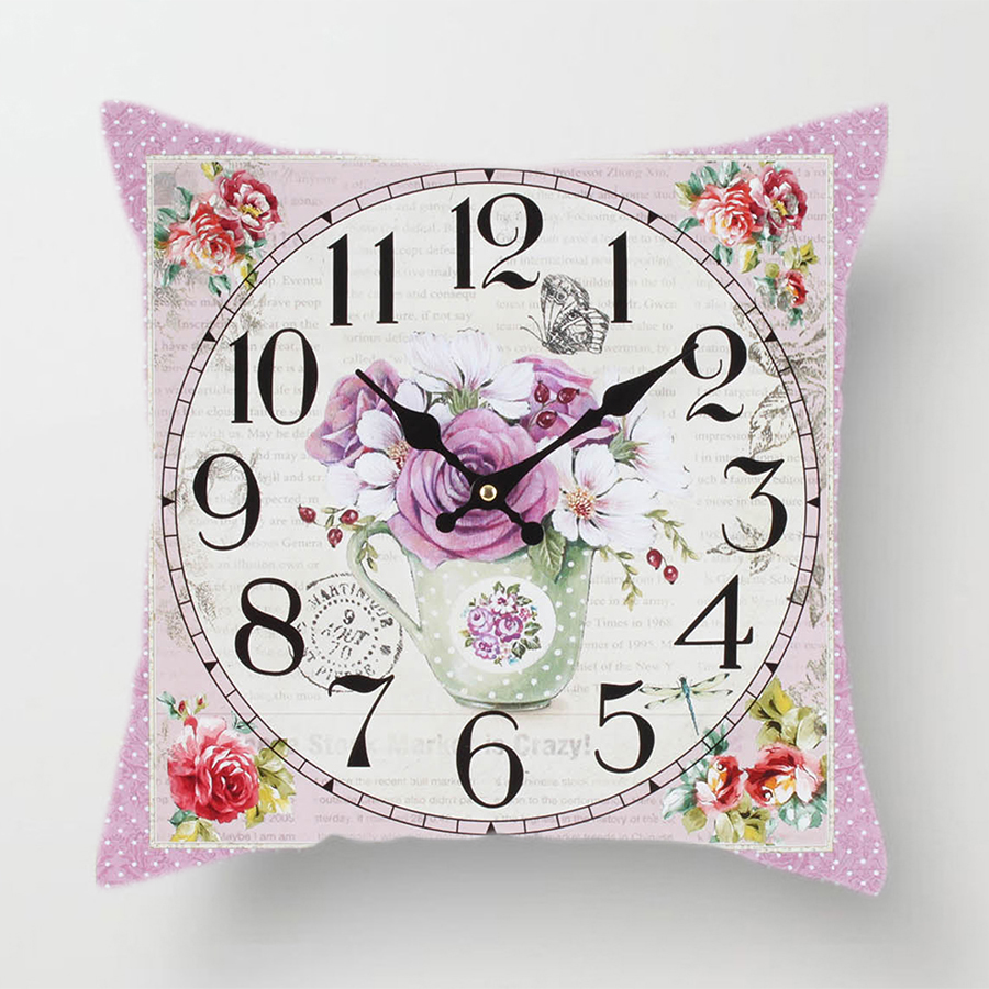 Image 2 - Clock Flower Throw Cushion Pillow Covers 45x45cm Decorative Kitchen Sofa Wedding Home Decoration Accessories Pink Room Decor-in Cushion Cover from Home & Garden