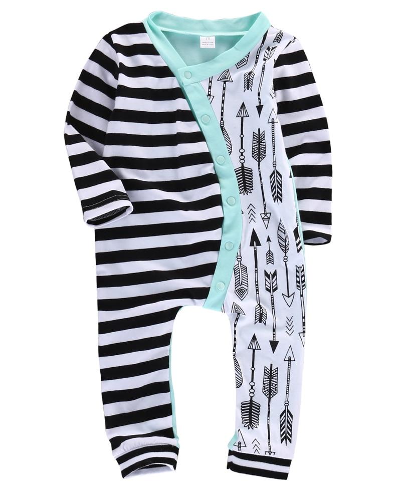 Kids Boys Stripe Arrow Long Sleeve Romper Baby Jumpsuit Outfits