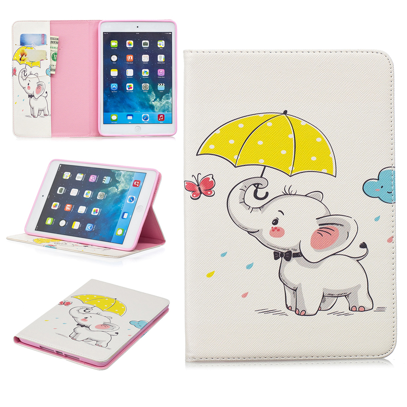 Animal Pattern Painted Case For Apple Ipad Mini 1 2 Cover PU Leather Cases For Ipad 3 4 Tablet Stand Protective Case