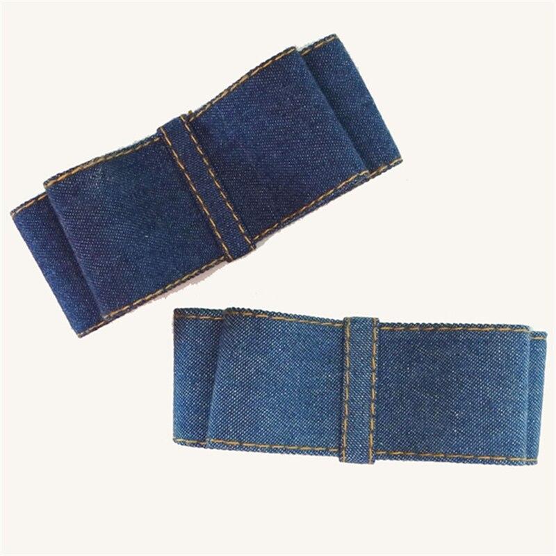Dvě vrstvy pevné barvy Denim Bow jaro vlasy klip pro dívky Vysoce kvalitní klasický Bow Barrettes vlasové doplňky pro ženy