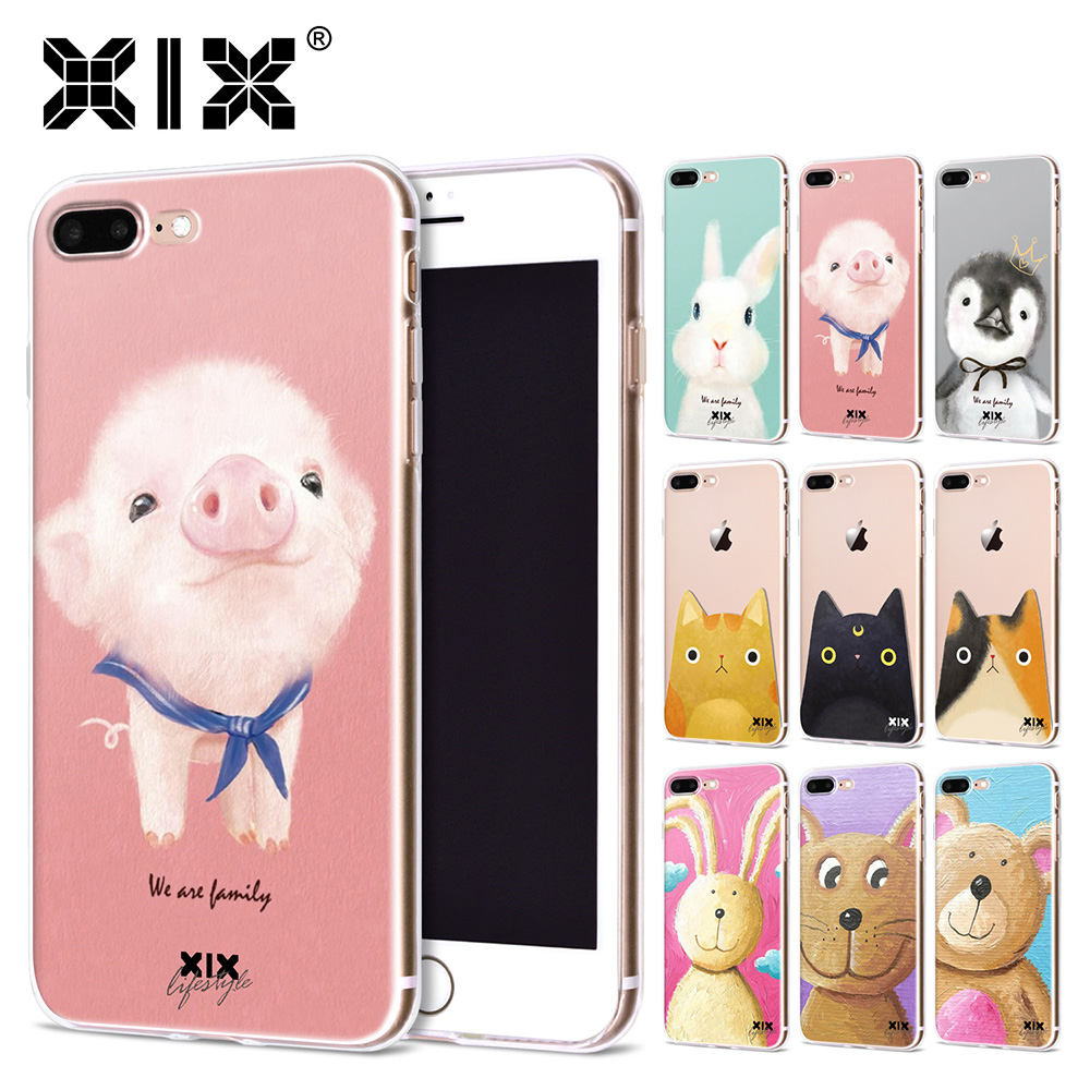 XIX 2017 new arrivals for funda iPhone 6S case 5 5S 6 6S 7 8 Plus X Cute Pig thin soft silicone TPU cover for iPhone 7 case