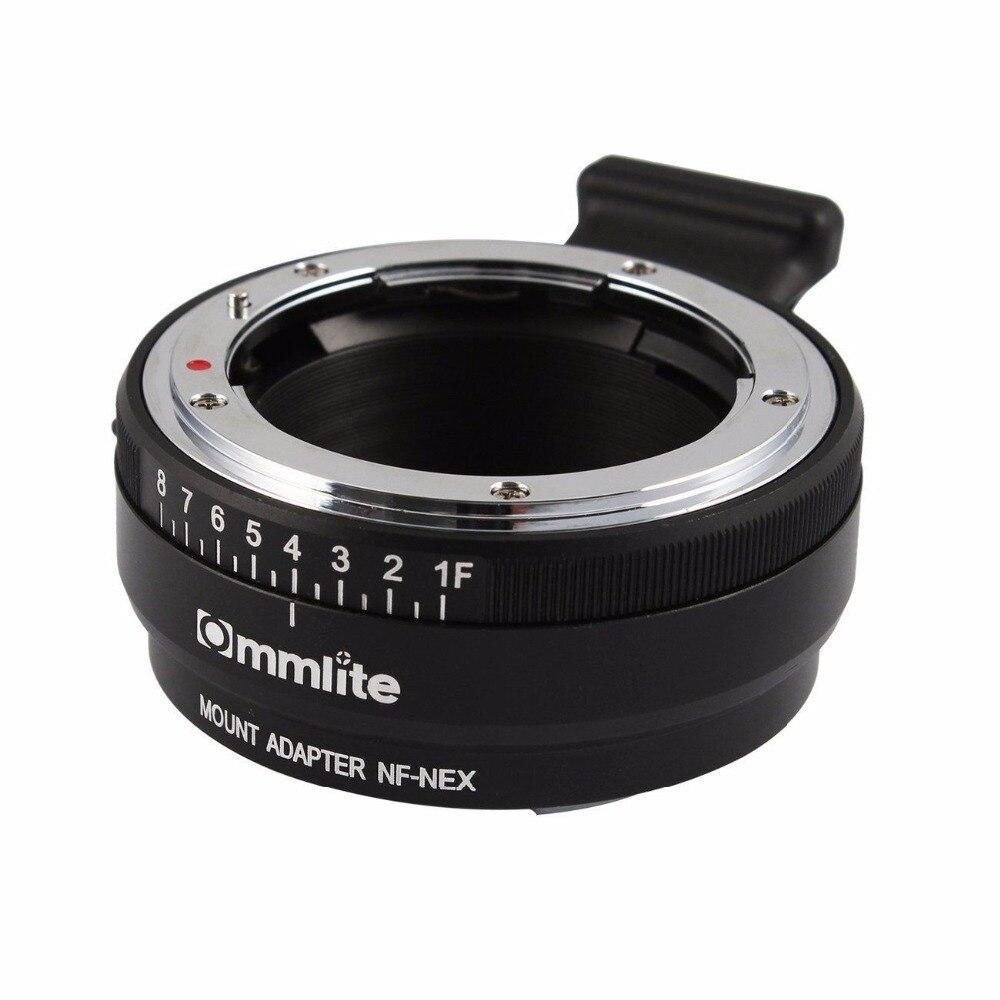 Adaptateur Commlite pour monture d'objectif avec cadran d'ouverture pour objectif Nikon F AF-S G pour appareil photo Sony E NEX A7 A7R A7RII A7SII A6300 A6000 NEX-7