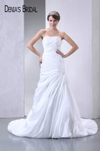 2017 Real Photos Strapless A-Line Wedding Dresses Pleats Appliques Floor-Length Chapel Train Long Bridal Gowns